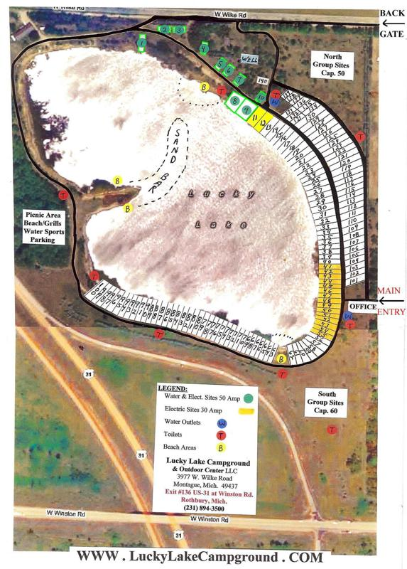 Lucky Lake Campground Sitemap - Click on the map to get a PDF printable version